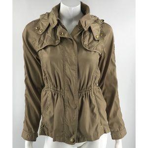 Vince Camuto Tan Zipper Hooded Jacket
